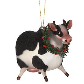 Barnyard Wreath Cow Glass Ornament Set