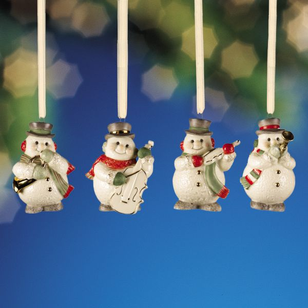 Mini Snowman 4-piece Ornament Set by Lenox