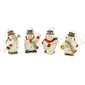 Mini Snowman 4-pc Ornament Set